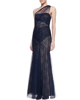 One-Shoulder Lace & Tulle Gown, Navy/Nude