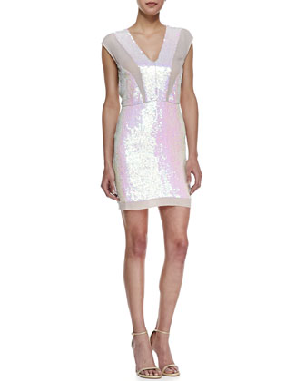 Sleeveless Iridescent Sequin Cocktail Dress, Multicolor