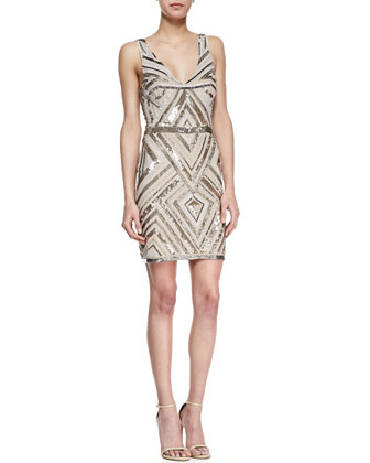 Chevron-Sequin V-Neck Cocktail Dress