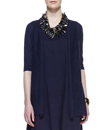 Half-Sleeve Organic Open-Front Cardigan & Linen-Blend High-Low Dress