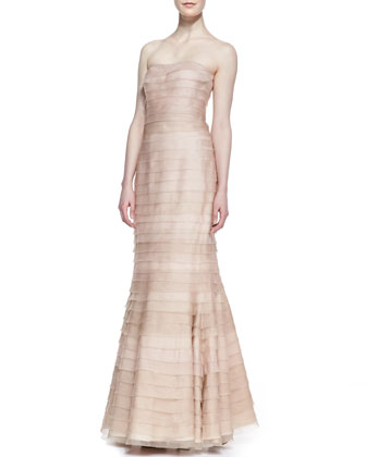 Strapless Tiered Lace Gown, Blush