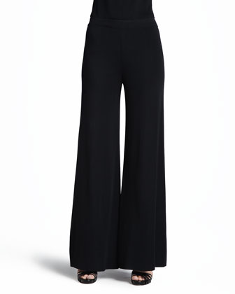 Ombre-Knit Contrast-Piping Jacket, Scoop-Neck Tank & Knit Palazzo Pants