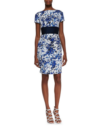 Short Sleeve Floral Print Cocktail Dress, White/Blue/Black