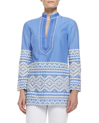 Zita Embroidered V-Neck Tunic