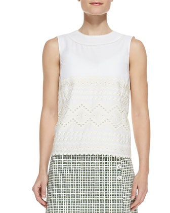 Seraphina Embroidered Sleeveless Cotton Top