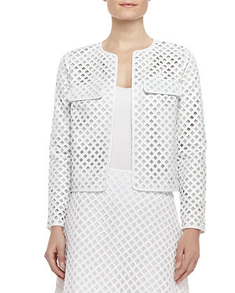 Kyra Laser-Cut Leather Jacket and Alaina A-Line Lattice Skirt