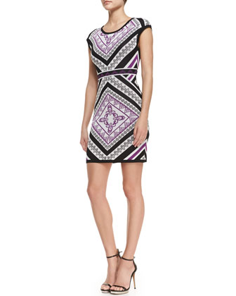 Cap Sleeve Printed Sweater Dress, Multicolor