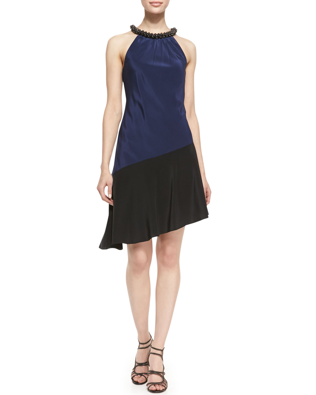 Womens Halter Beaded Neck Colorblock Dress, Royal Navy/Black   Ali Ro   Royal