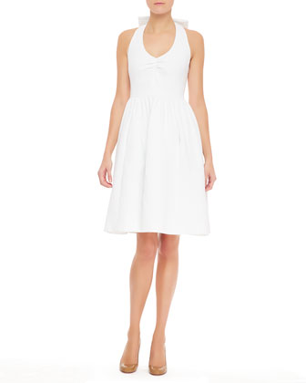 hampton halter dress with bow, fresh white