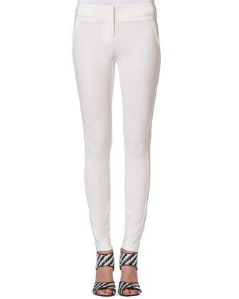 Slim Viscose Stretch Pants, White