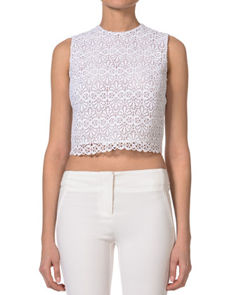 Sleeveless Lace Crop Top, White