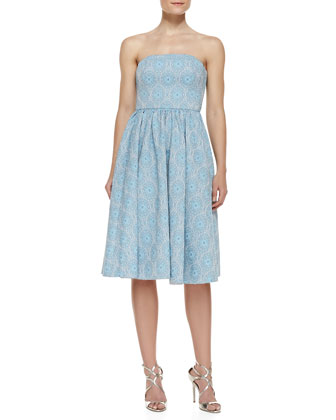 Strapless Jacquard Party Dress, Light Blue/Multicolor