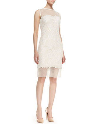 Sleeveless Illusion Bodice & Hem Dress, White