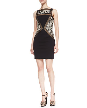 Sleeveless Brocade Inset Sheath Dress, Black