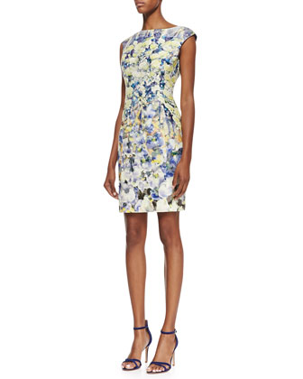 Cap-Sleeve Watercolor Floral Print Dress, Multicolor
