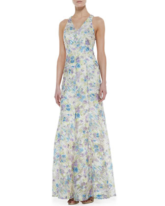 Sleeveless Sequined Floral-Print Gown, Ivory/Multicolor