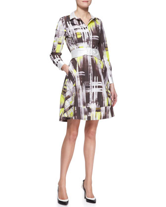 long-sleeve modern print shirtdress