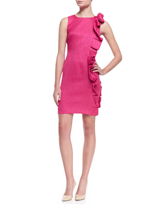 Sleeveless Side-Ruffle Cocktail Dress, Hot Pink