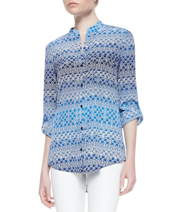 Gilmore Printed Long Sleeve Blouse, Moroccan Lace Blue