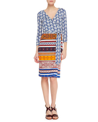New Julian Two 3/4-Sleeve Printed Wrap Dress, Blue/Desert Sand