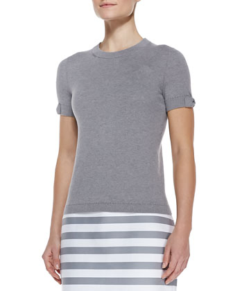 somerset short sleeve sweater, casino gray