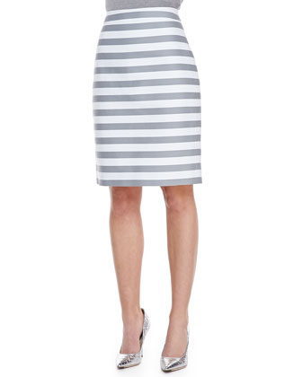 marit striped pencil skirt, fresh white/casino gray