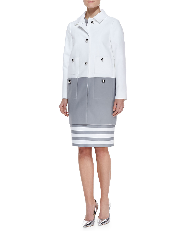 Womens shipley contrast coat, fresh white/casino gray   kate spade new york