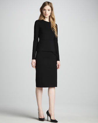Williams Long-Sleeve Peplum Dress