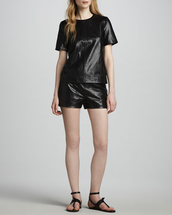Tullia Snake-Print Leather Shorts