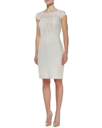 Cap-Sleeve Lace & Jacquard Dress, Ivory