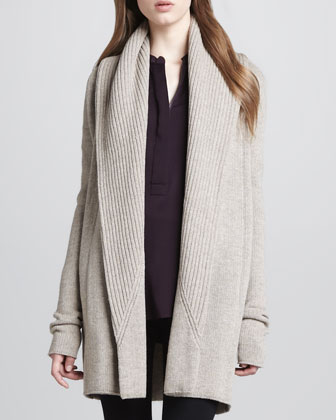 Rib-Trim Open Cardigan