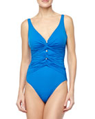 Le Ribot Gathered One-Piece Swimsuit, Blue