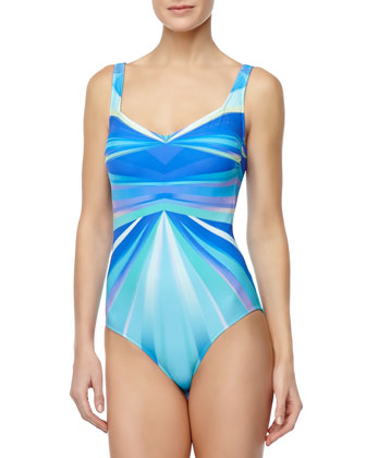 Seraphine Ray-Print One-Piece Swimsuit