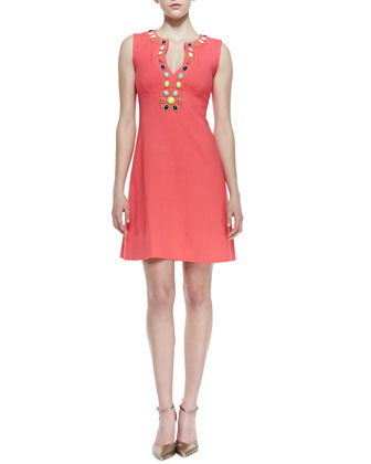edith sleeveless jewel stone front dress, geranium
