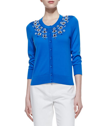 arcadia embellished collar cardigan, azure blue