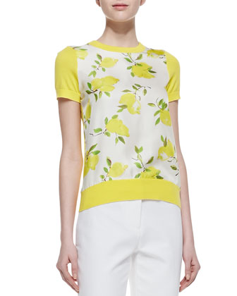 barcley short sleeve lemon print sweater, yellow/white/green