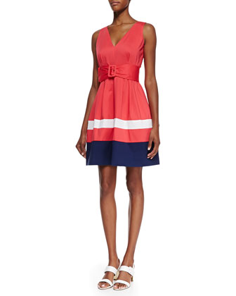 sawyer sleeveless colorblock dress, geranium/white/navy