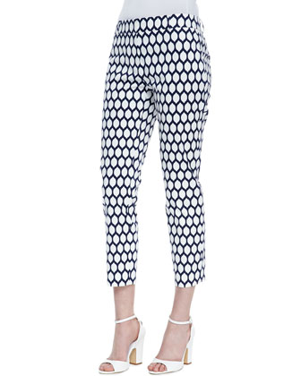 jackie lemon-print capri pants, french navy/fresh white