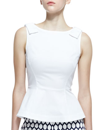 thalia sleeveless bow epaulet top, fresh white