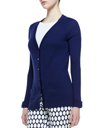 cary bow cuff cardigan, french navy