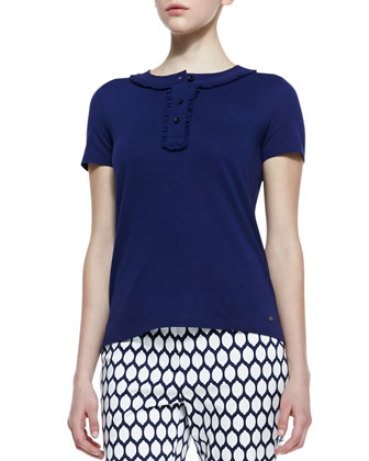 sibley short-sleeve ribbon-collar top, navy