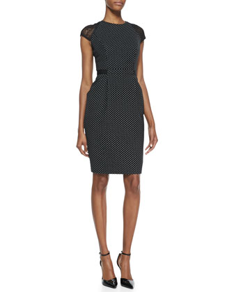 Cap-Sleeve Swiss-Dot Sheath Dress, Black/White