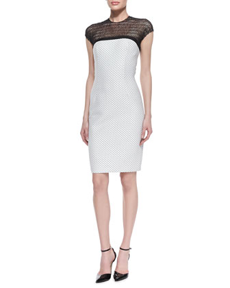 Dotted Sheath Dress with Illusion Neckline