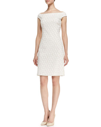 Off-Shoulder Reptile Print Sheath Dress, White