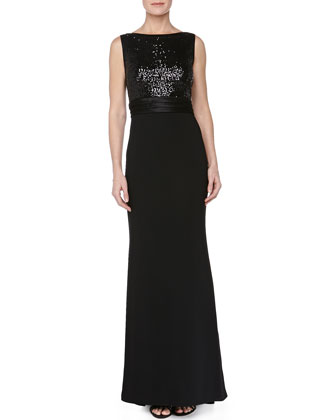 Sequin-Bodice Crepe-Skirt Gown, Black