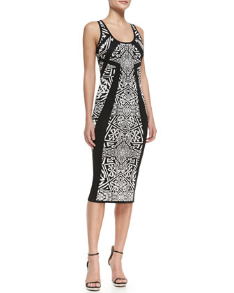 Sleeveless Printed Knee Length Sheath Dress, Black/Ivory