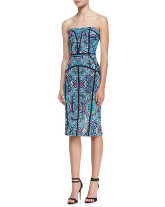 Strapless Printed & Piped Seam Dress, Teal/Multicolor