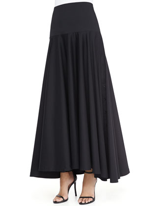 Long High-Low Shirting Skirt