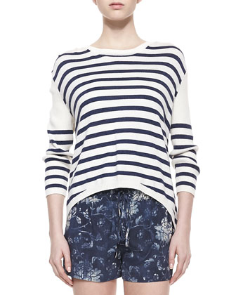 Striped Silk High-Low Sweater, Cream/Navy