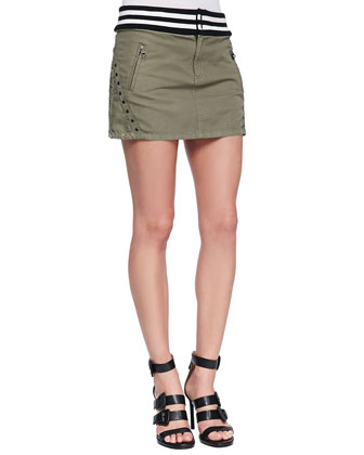 Studded & Striped Miniskirt, Army Green